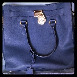 MK Hamilton large NS navy leather tote handbag